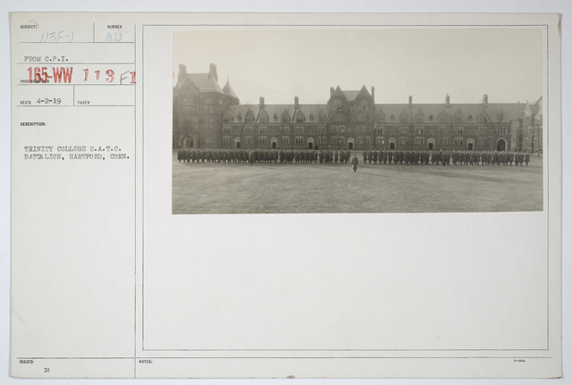 Colleges and Universities - Trinity College - Trinity College Student Army Training Corps, Battalion, Hartford, Connecticut