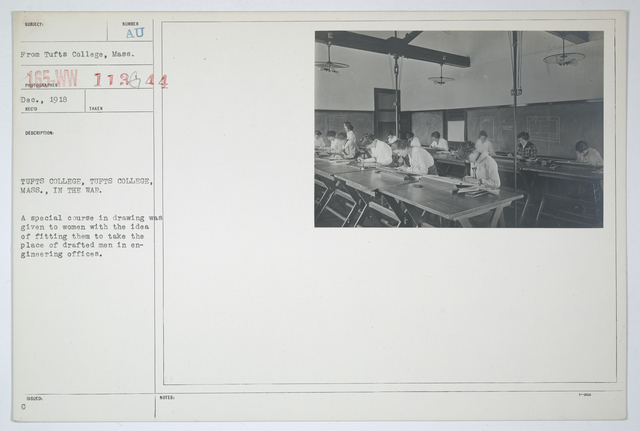 Colleges and Universities - Tufts College - Tufts College, Massachusetts. A special course in drawing was given to women with the idea of fitting them to take the place of drafted men in engineering offices