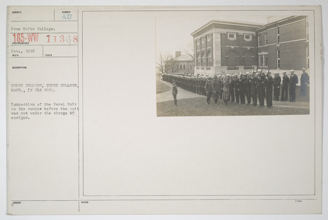 Colleges and Universities - Tufts College - Tufts College, Massachusetts. Inspection of the Naval Unit on the campus before the unit was put under the charge of ensigns