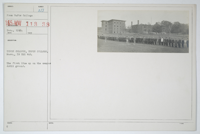 Colleges and Universities - Tufts College - Tufts College, Massachusetts. The first line up on the campus drill ground