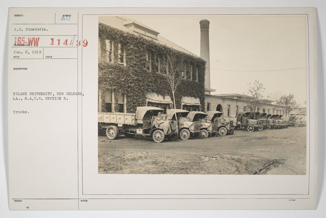 Colleges and Universities - Tulane University - Tulane University, New Orleans, Louisiana, Students Army Training Corps, Section B. Trucks