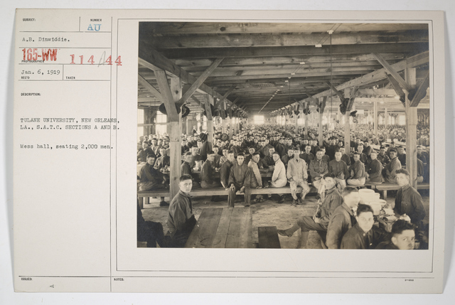 Colleges and Universities - Tulane University - Tulane University, New Orleans, Louisiana, Students Army Training Corps, Sections A and B.  Mess Hall, seating 2,000 men