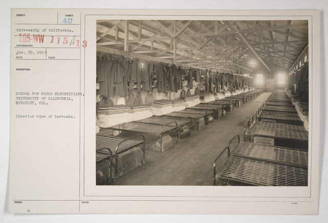 Colleges and Universities - University of California - School for radio electricians, University of California, Berkeley, California.  Interior view of barracks