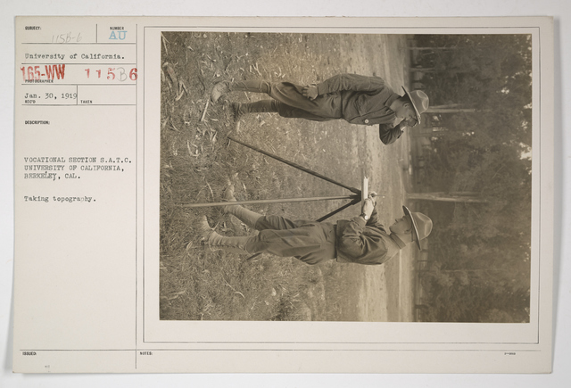 Colleges and Universities - University of California - Student Army Training Corps - Vocational section of Student Army Training Corps. University of California, Berkeley, California. Taking topography