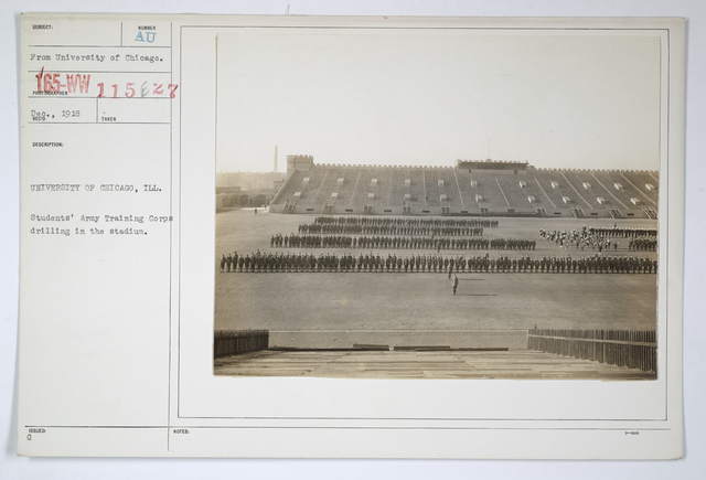 Colleges and Universities - University of Chicago - Students' Army Training Corps drilling in the stadium