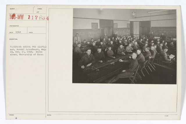 Colleges and Universities - University of Kansas - Technical school for drafted men, second detachment, August 15, October 15, 1918.  Radio class, University of Kansas