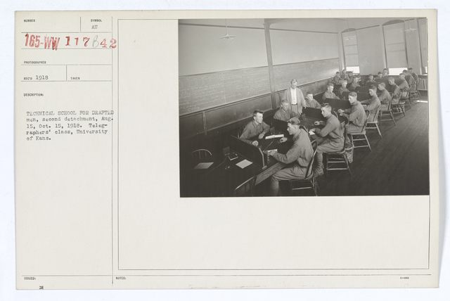 Colleges and Universities - University of Kansas - Technical school for drafted men, second detachment, August 15, October 15, 1918.  Telegraphers' class, University of Kansas
