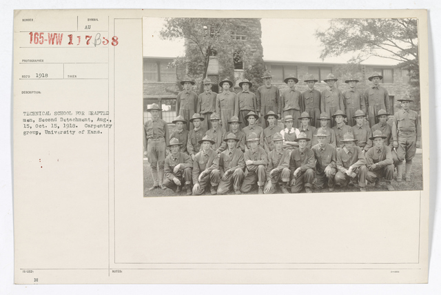 Colleges and Universities - University of Kansas - Technical school for drafted men, second detachment, August 15, October 15, 1918. Carpentry group, University of Kansas