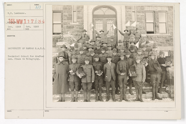 Colleges and Universities - University of Kansas - University of Kansas, Students Army Training Corps.   Technical school for drafted men.  Class in telegraphy
