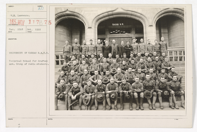 Colleges and Universities - University of Kansas - University of Kansas, Students Army Training Corps.   Technical school for drafted men.  Group of radio students