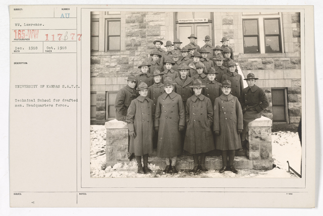 Colleges and Universities - University of Kansas - University of Kansas, Students Army Training Corps.   Technical school for drafted men.  Headquarters force