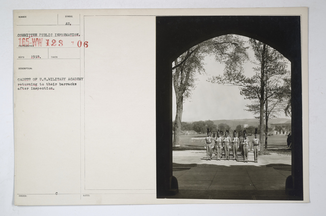 Colleges and Universities -West Point - Cadets of U.S. Military Academy returning to their barracks after inspection