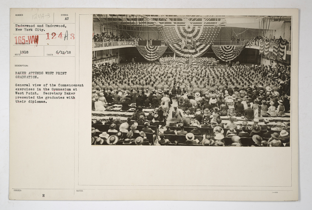 Colleges and Universities - West Point - Ceremonies - Baker attends West Point graduation. General view of the Commencement exercises in the Gymnasium at West Point. Secretary Baker presented the graduates with their diplomas