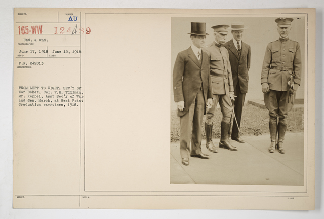 Colleges and Universities - West Point - Ceremonies - From left to right: Secretary of War Baker, Col1l T.H. Tillman, Mr. Keppel, Assistant Secretary of War, and General March, at West Point graduation exercises, 1918
