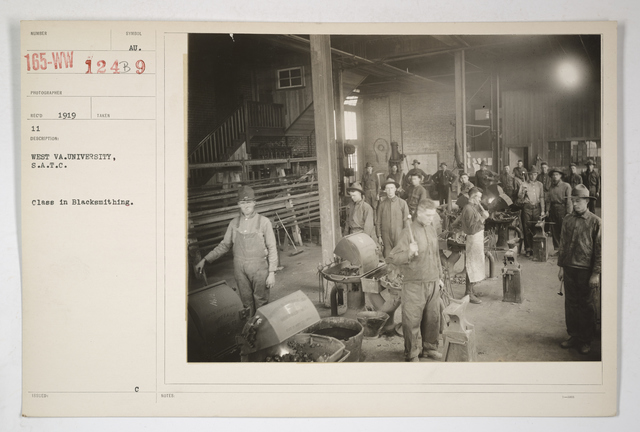 Colleges and Universities - West Virginia University - West Virginia University. S.A.T.C. [Student Army Training Corps] Class in blacksmithing