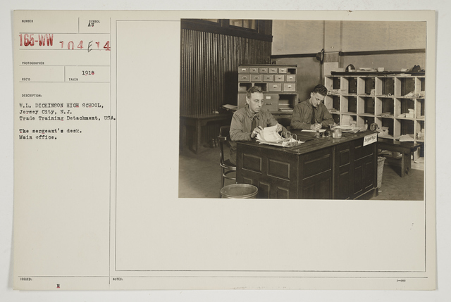 Colleges and Universities - William L. Dickinson High School - Jersey City, New Jersey - W. L. Dickinson High School, Jersey City, New Jersey.  Trade Training Detachment, USA.   The Sergeant's desk.  Main office