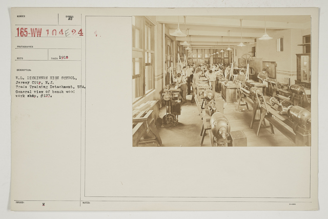 Colleges and Universities - William L. Dickinson High School - Jersey City, New Jersey - W. L. Dickinson High School, Jersey City, New Jersey.  Trade Training Detachment, USA.  General view of bench wood work shop, #127