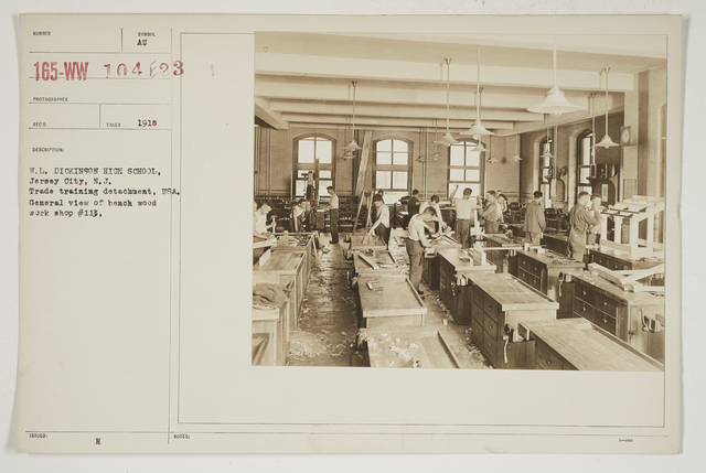 Colleges and Universities - William L. Dickinson High School - Jersey City, New Jersey - W. L. Dickinson High School, Jersey City, New Jersey.  Trade Training Detachment, USA.  General view of bench wood work shop #113