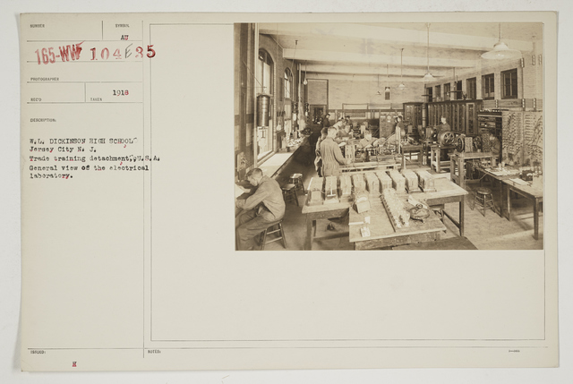 Colleges and Universities - William L. Dickinson High School - Jersey City, New Jersey - W. L. Dickinson High School, Jersey City, New Jersey.  Trade Training Detachment, USA.  General view of the electrical laboratory