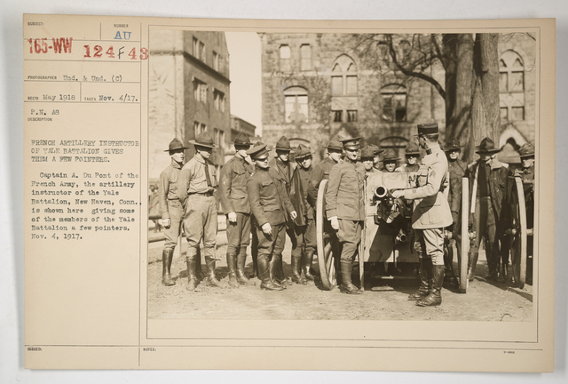 Colleges and Universities - Yale University - French Artillery Instructor of Yale Battalion gives them a few pointers