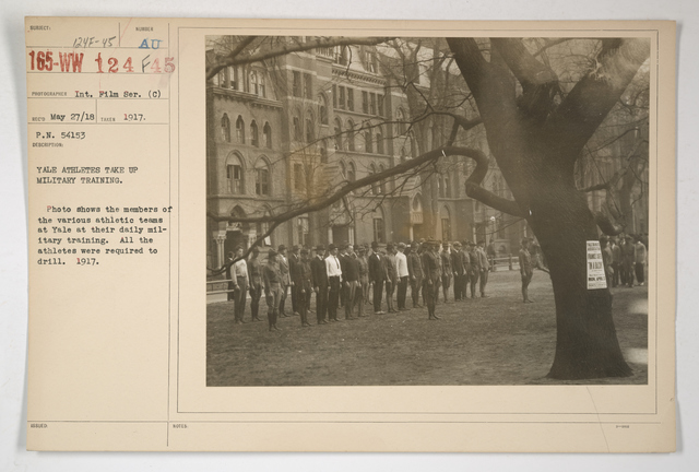Colleges and Universities - Yale University - Yale athletes take up military training. Photo shows the members of the various athletic teams at Yale at their daily military training. All the athletes were required to drill. 1917