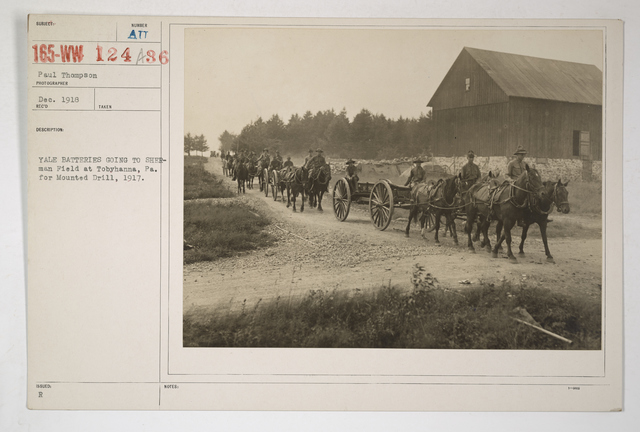 Colleges and Universities - Yale University - Yale Batteries going to Sherman Field at Tobyhanna, Pennsylvania for mounted drill. 1917