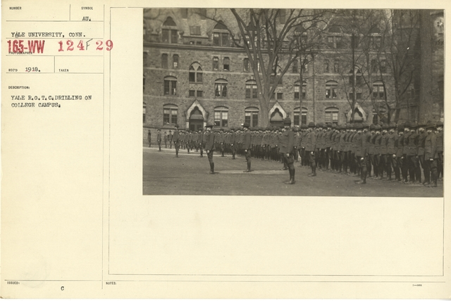 Colleges and Universities - Yale University - Yale University. Headquarters Company of Yale Battery at Tobyhanna, Pennsylvania. 1917. Captain Hiram Bingham, Connecticut N.G