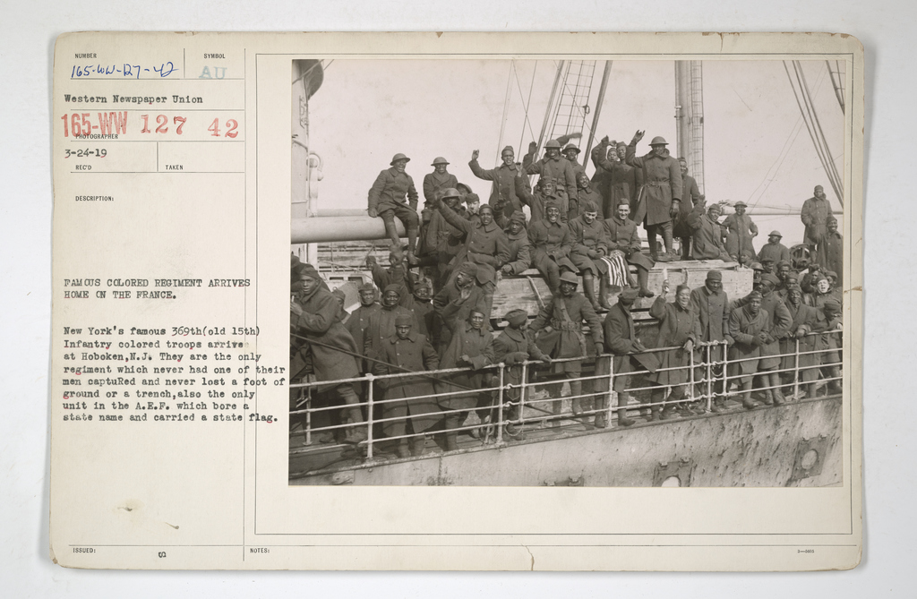 Colored Troops - Famous colored regiment Arrives Home on the France