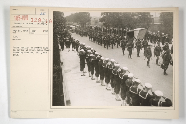 """Commission - From Foreign Nations - France - Blue Devils - """"Blue Devils"""" of France pass in review at Great Lakes Naval Training Station, Illinois. May 1918"""
