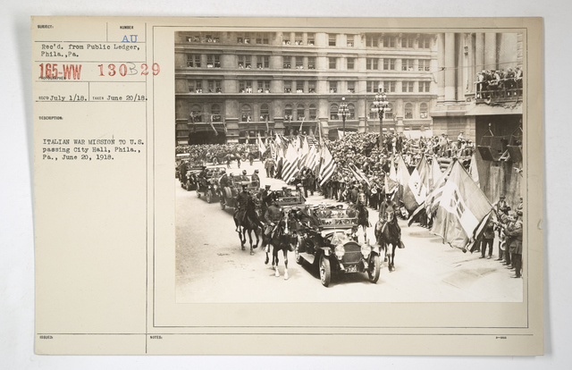 Commissions - Italy - Italian War Mission to U.S. passing City Hall, Philadelphia, Pennsylvania