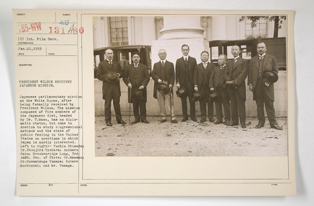 Commissions - Japan - President Wilson receives Japanese Mission