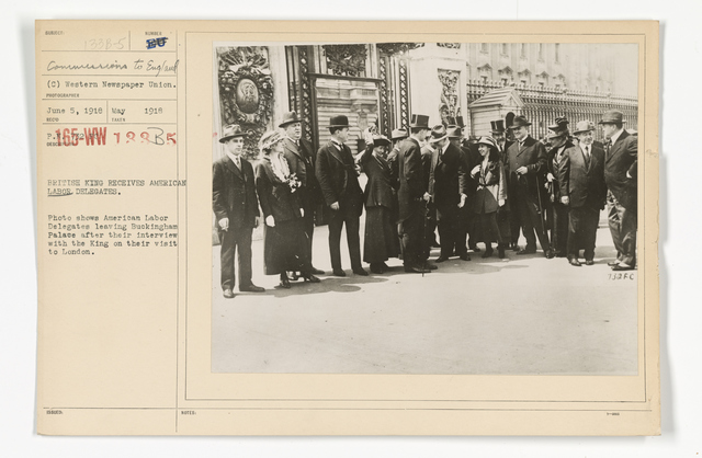 Commissions - To Foreign Nations - Labor - British King received American Labor delegates. Photo shows American Labor delegates leaving Buckingham Palace after their interview with the King on their visit to London