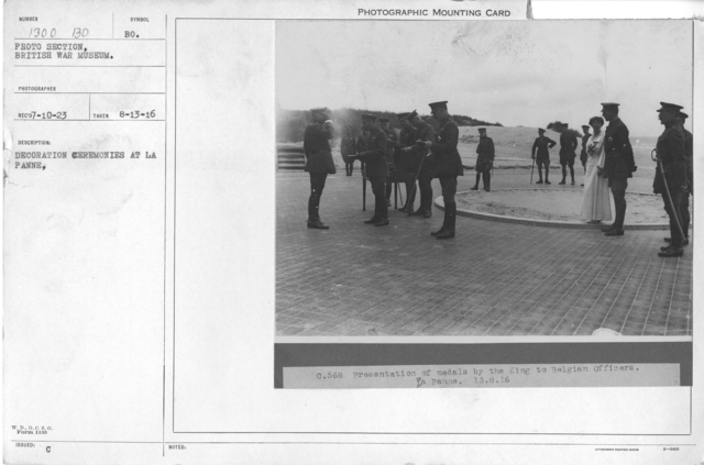Decoration ceremonies at La Panne. 8-13-1916