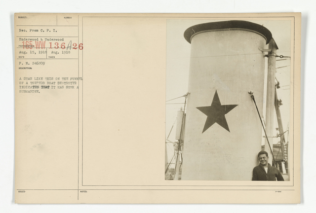 Decorations - Medals - American - A star like this on the funnel of a torpedo boat destroyer indicates that it has sunk a submarine