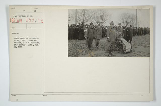 Decorations - Presentations - American - Major General Hutcheson, aides, John Zeldam and parents, D.S.C. ceremony, Camp Custer, Michigan, February 24, 1919