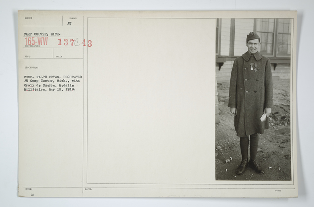 Decorations - Presentations - By Foreign Governments - Corp. Ralph Bryan, decorated at Camp Custer, Michigan, with Croix de Guerre, Medalle Millitaire, May 10, 1919