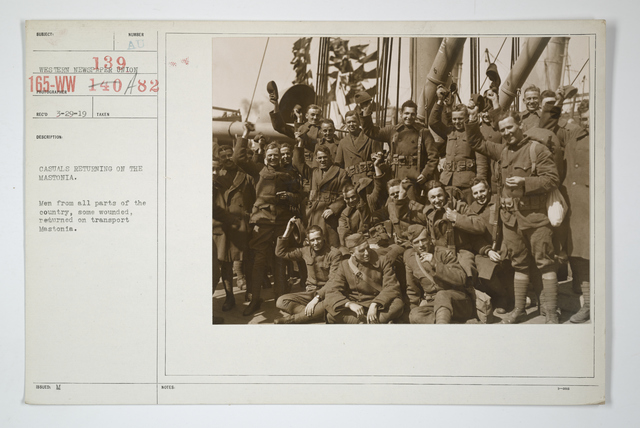 Demobilization - Arrivals Home - Casuals returning on the Mastonia. Men from all parts of the country, some wounded, returned on transport Mastonia