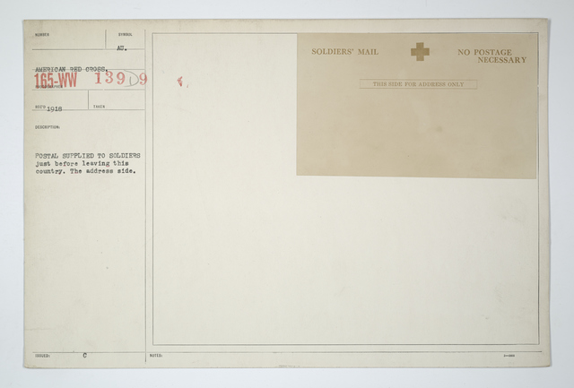 Demobilization - Documents - Postal supplied to soldiers just before leaving this country. The address side