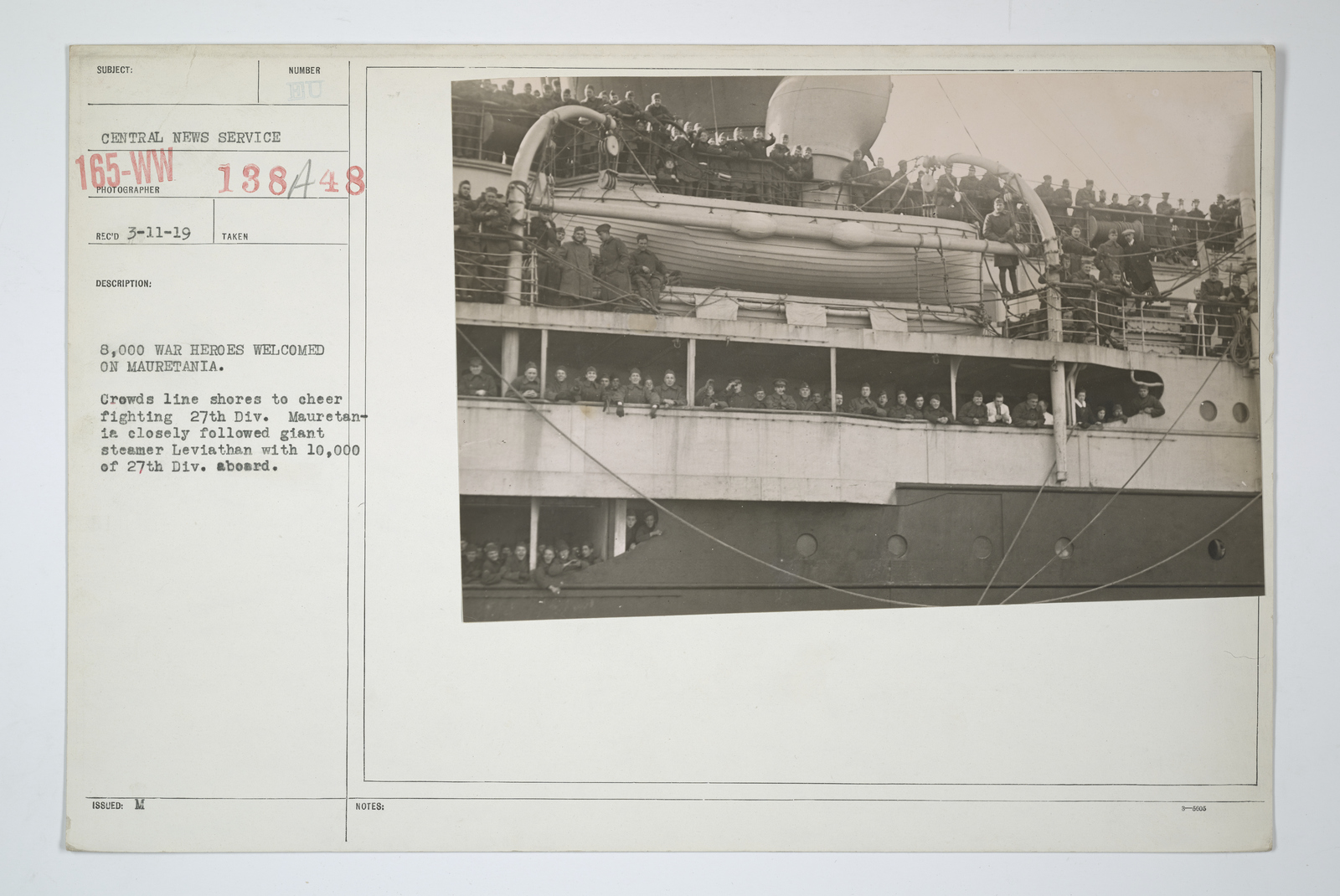 Demobilization - Miscellaneous - 8,000 war heroes welcomed on Mauretania. Crowds line shores to cheer fighting 27th Division. Mauretania closely followed giant steamer Leviathan with 10,000 of 27th Division aboard