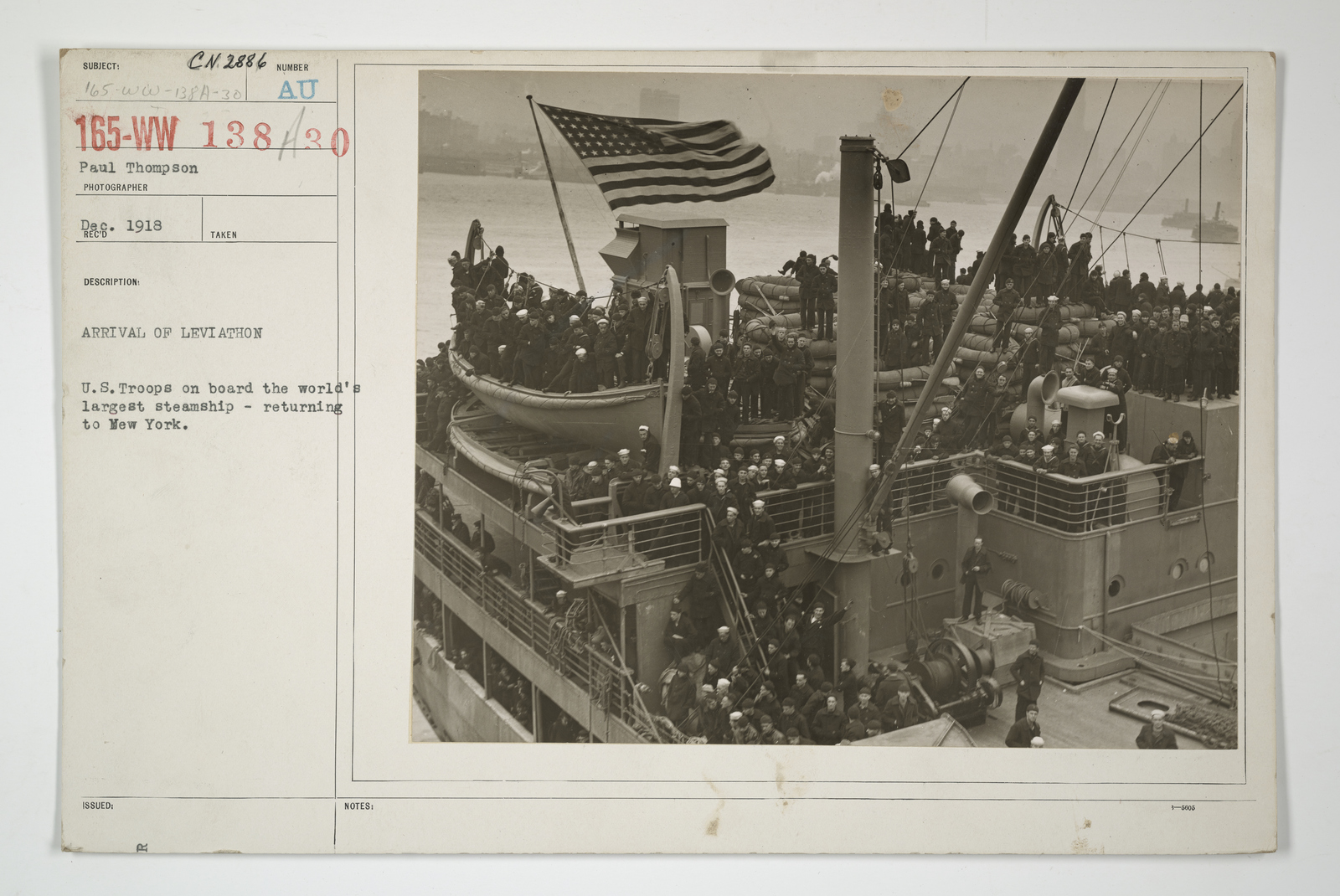 Demobilization - Miscellaneous - Arrival of Leviathan. U.S. troops on board the world's largest steamship, returning to New York