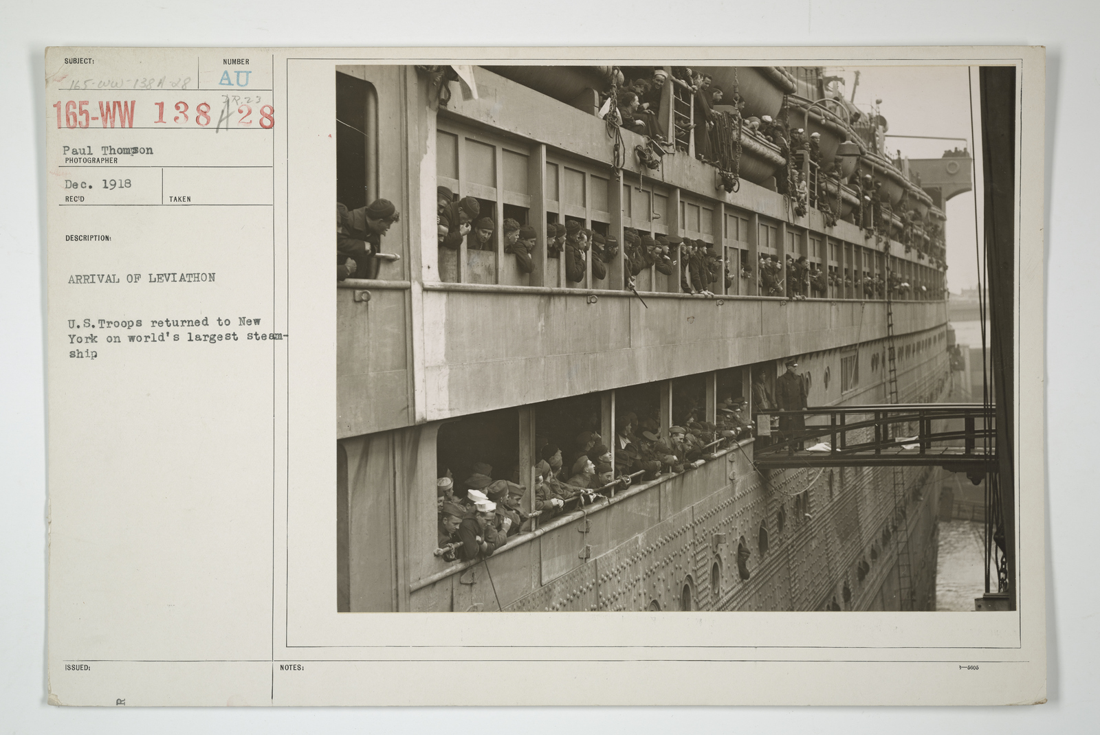Demobilization - Miscellaneous - Arrival of Leviathan. U.S. Troops returned to New York on world's largest steamship