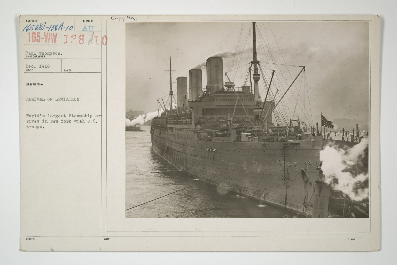 Demobilization - Miscellaneous - Arrival of Leviathan. World's largest steamship arrives in New York with U.S. troops