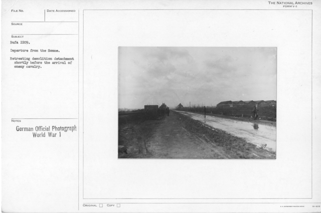 Departure from the Somme. Retreating demolition detachment shortly before the arival of enemy cavalry
