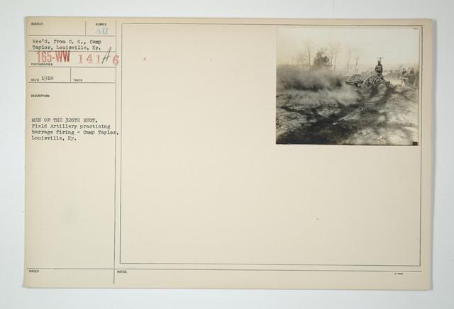 Drills - Artillery - Field - Firing - Men of the 326th Regiment. Field Artillery practicing barrage firing. Camp Taylor, Louisville, Kentucky