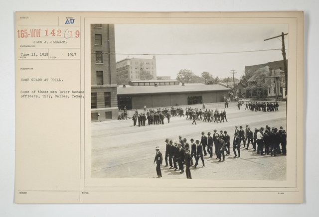 Drills - Civilian Bodies - Home Guards - Home guard at drill. Some of these men later became officers, 1917, Dallas, Texas