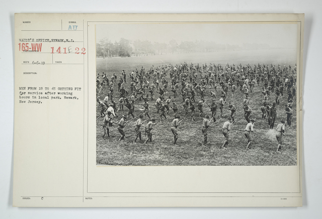 Drills - Civilian Bodies - Men from 18 to 45 getting fit for service after working hours in local park. Newark, New Jersey