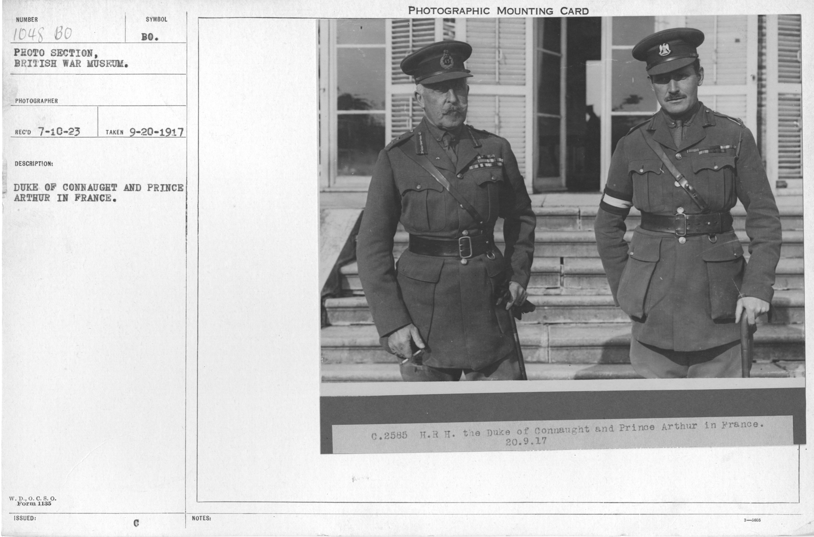 Duke of Connaught and Prince Arthur in France