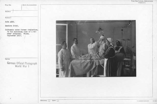 Eastern front. Lithuania under German domination. In the operating room of a women's hospital. Wilna. September 1917