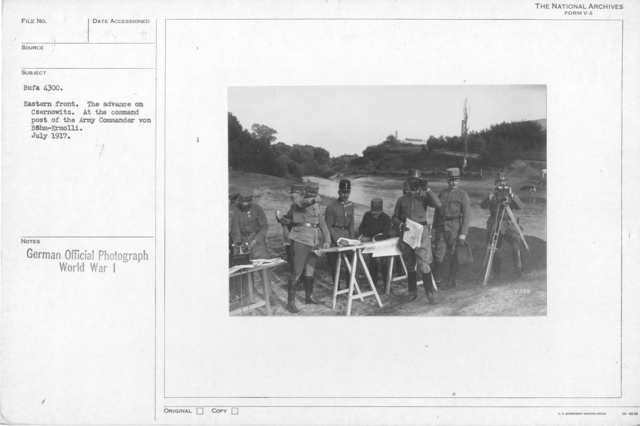 Eastern front. The advance on Czernowitz. At the command post of the army Commander von Bohm-Ermolli. July 1917