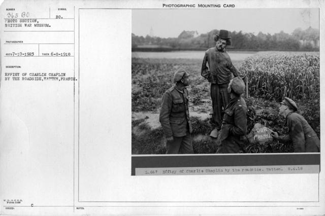 Effigy of Charlie Chaplin by the roadside, Watten, France; 6/8/1918